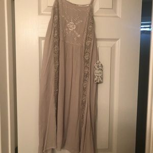 Sweet spaghetti strap taupe embroidered dress.